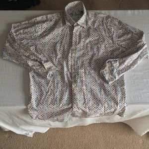 Alan Flusser White Colorful Print Button Down